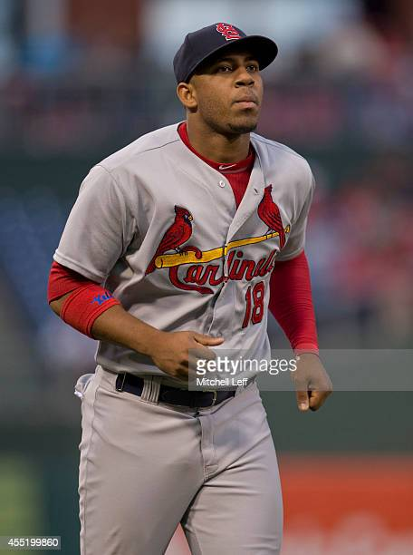 Right fielder Oscar Taveras of the St Louis Cardinals warms up prior to the Philadelphia Phillies on August 23 2014 at Citizens Bank Park in...