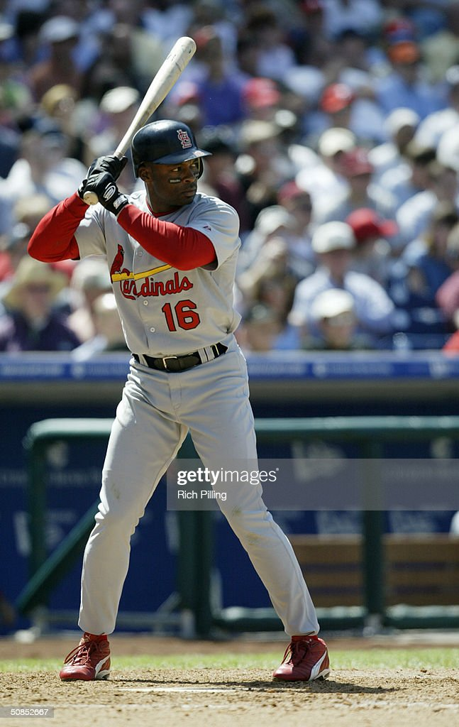 Right fielder Reggie Sanders of the St Louis Cardinals at bat during the game against the Philadelphia Phillies at Citizens Bank Park on May 6 2004...