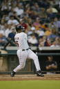 Right fielder Richard Hidalgo of the Houston Astros swings at the pitch during the MLB game against the Arizona Diamondbacks on June 27 2002 at...