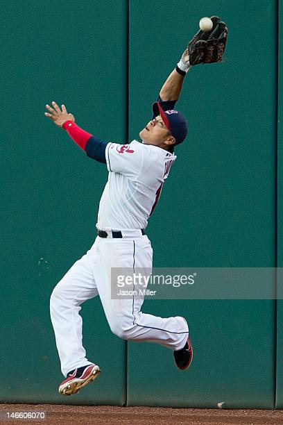 Right fielder ShinSoo Choo of the Cleveland Indians grabs a fly ball during the fifth inning against the Cincinnati Reds during interleague play at...