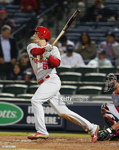 Right fielder Stephen Piscotty of the St Louis Cardinals hits a ninth inning home run during the game against the Atlanta Braves at Turner Field on...