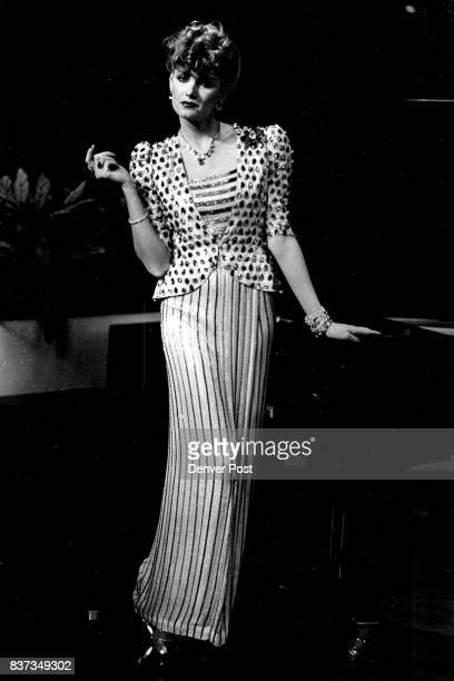 """Right handsewn sequins form a blackandwhite zebra print for a haltertop evening dress designed for actress Sylvia Miles in the movie """"Death on the..."""