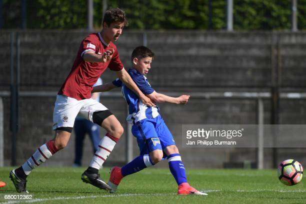 right Nemanja Motika of Hertha BSC U14 during the game of the 3rd place during the Nike Premier Cup 2017 on may 7 2017 in Berlin Germany