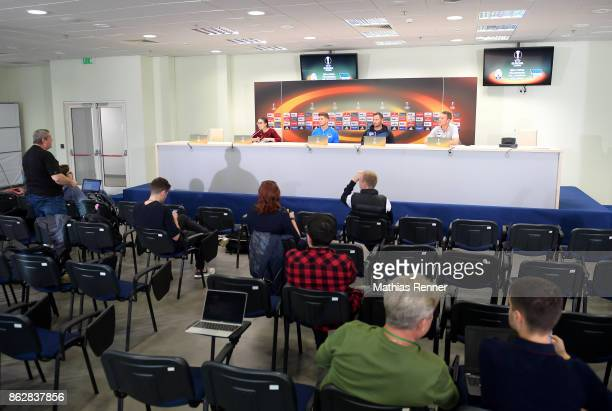 right Niklas Stark coach Pal Dardai and Marcus 'Max' Jung of Hertha BSC during the press conference before the training on october 18 2017 in Luhansk...