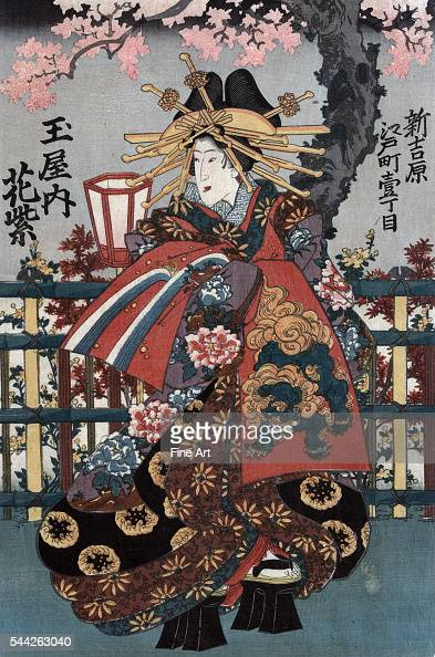 Right panel of ukiyoe triptych showing three courtesans Date Created/Published between 1848 and 1868 Color woodcut 378 x 748 cm 378 x 245 cm