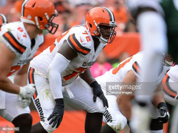 Right tackle Shon Coleman of the Cleveland Browns awaits the snap from his position in the fourth quarter of a game on October 8 2017 against the New...