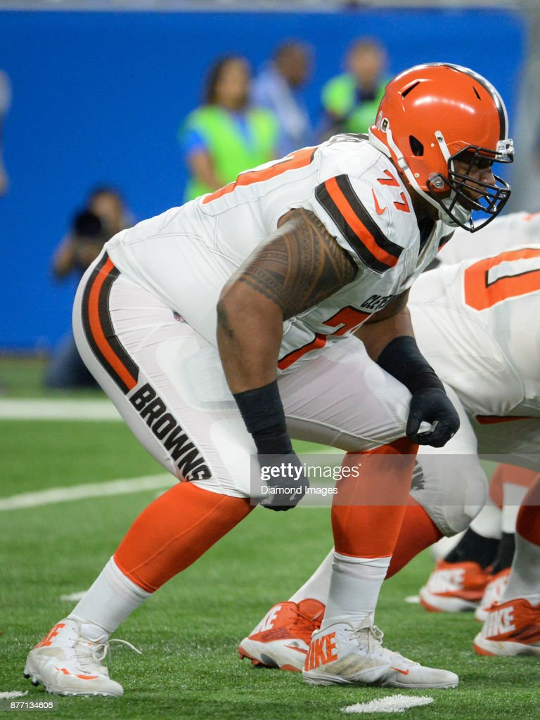 Right tackle Zach Banner #77 of the Cleveland Browns awaits the snap from his position in the third quarter of a game on November 12, 2017 against the Detroit Lions at Ford Field in Detroit, Michigan. Detroit won 38-24.