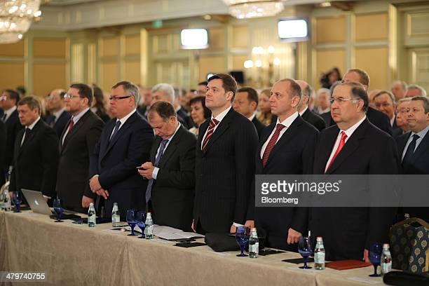 Right to left Alisher Usmanov Russian billionaire owner of USM Holdings Ltd Dmitry Pumpyansky billionaire and owner of OAO TMK Alexey Mordashov...