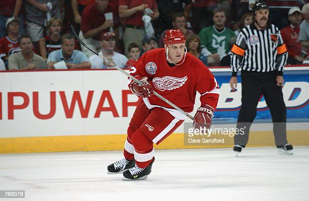 Right wing Brett Hull of the Detroit Red Wings skates on the ice during game three of the NHL Stanley Cup Finals against the Carolina Hurricanes on...
