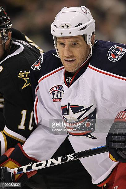 Right wing Chris Clark of the Columbus Blue Jackets at American Airlines Center on February 13 2011 in Dallas Texas