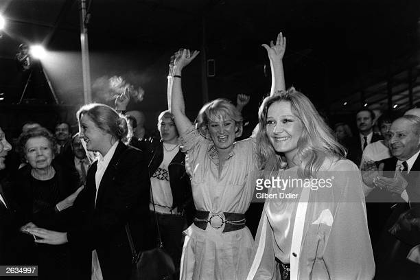 Right wing French politician JeanMarie Le Pen's three daughters cheer an election victory for the Front National
