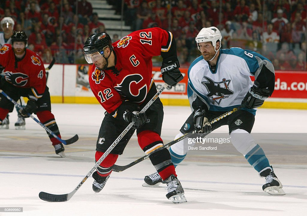 Right wing Jarome Iginla #12 of the Calgary Flames skates on the ice during Game six of the 2004 NHL Western Conference Finals against the San Jose Sharks at the Pengrowth Saddledome on May 19, 2004 in Calgary, Alberta. The Flames defeated the Sharks 3-1.