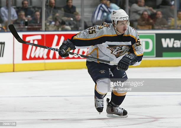 Right wing Jordin Tootoo of the Nashville Predators skates on the ice during the game against the Toronto Maple Leafs at Air Canada Center on January...