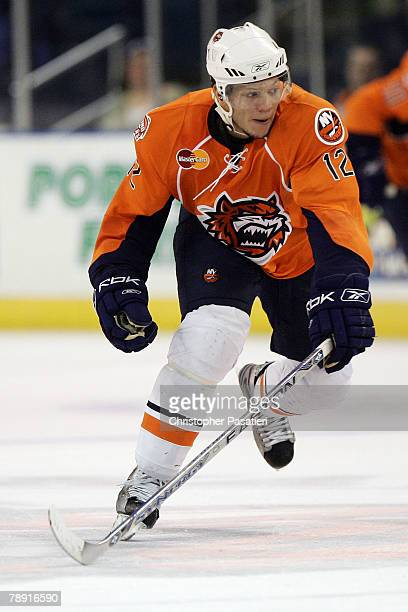 Right wing Kyle Okposo of the Bridgeport Sound Tigers plays during the third period against the Springfield Falcons at Harbor Yard January 12 2008 in...