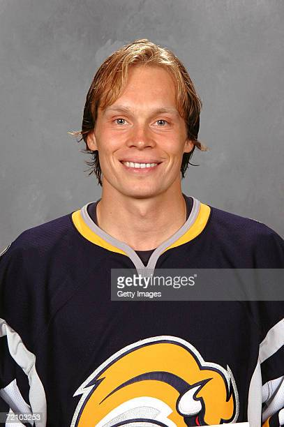 Right wing Maxim Afinogenov of the NHL Buffalo Sabres poses for a portrait at HSBC Arena on September 14 2006 in Buffalo New York