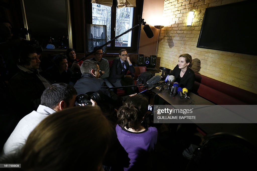 UMP right wing opposition party leader Nathalie kosciusko-Morizet gives a short press conference on February 15, 2013 at a cafe in Paris, before meeting with people, a day after she announced her candidacy as Paris' mayor.