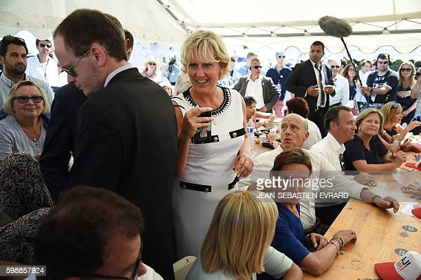 Right wing party 'Les Republicains' member Nadine Morano and French rightwing Les Republicains party's mayor of Bordeaux and candidate for the LR...