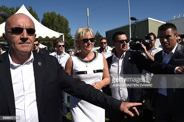 Right wing party 'Les Republicains' member Nadine Morano arrives to attend a LR political rally in La Baule on September 3 2016 / AFP / JEANSEBASTIEN...