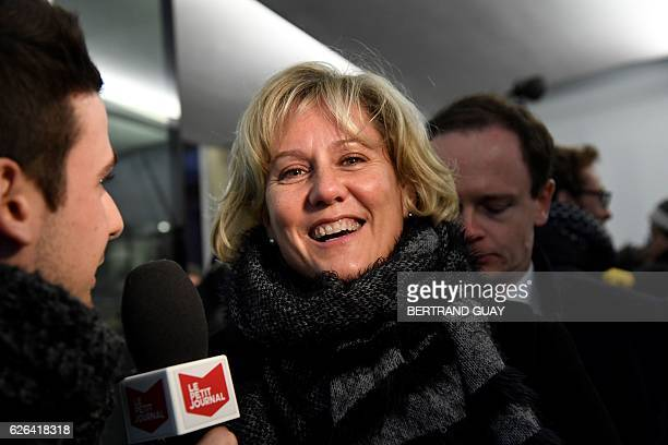 Right wing party 'Les Republicains' member Nadine Morano arrives to Les Republicains party headquarters in Paris on November 29 2016 to attend a...