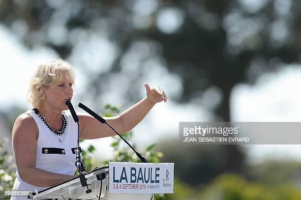 Right wing party 'Les Republicains' member Nadine Morano delivers a speech during a LR political rally in La Baule on September 3 2016 / AFP /...