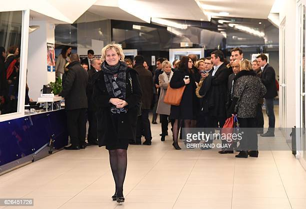 Right wing party 'Les Republicains' member Nadine Morano leaves LR party's headquarters in Paris on November 29 2016 after a meeting on the party's...