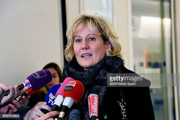 Right wing party 'Les Republicains' member Nadine Morano speaks as she leaves LR party's headquarters in Paris on November 29 2016 after a meeting on...