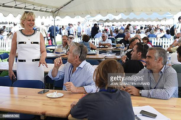 Right wing party 'Les Republicains' member Nadine Morano talks as she attends a LR political rally in La Baule on September 3 2016 / AFP /...