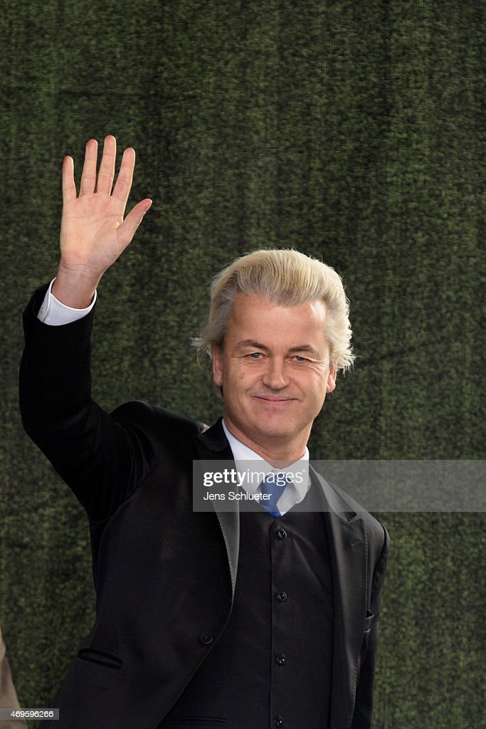 Right-wing Dutch politician <a gi-track='captionPersonalityLinkClicked' href=/galleries/search?phrase=Geert+Wilders&family=editorial&specificpeople=5053412 ng-click='$event.stopPropagation()'>Geert Wilders</a> speaks to supporters of the Pegida movement at another of their weekly protests on April 13, 2015 in Dresden, Germany. A large number of supporters and opponents are expected to attend the rally, which will feature Dutch right-wing politician <a gi-track='captionPersonalityLinkClicked' href=/galleries/search?phrase=Geert+Wilders&family=editorial&specificpeople=5053412 ng-click='$event.stopPropagation()'>Geert Wilders</a> as a guest speaker. The Pegida movement, which originally emerged as a grass-roots effort with aims to curb immigration, among other issues, splintered into two camps earlier this year and the movement is seeking to regain its earlier momentum.