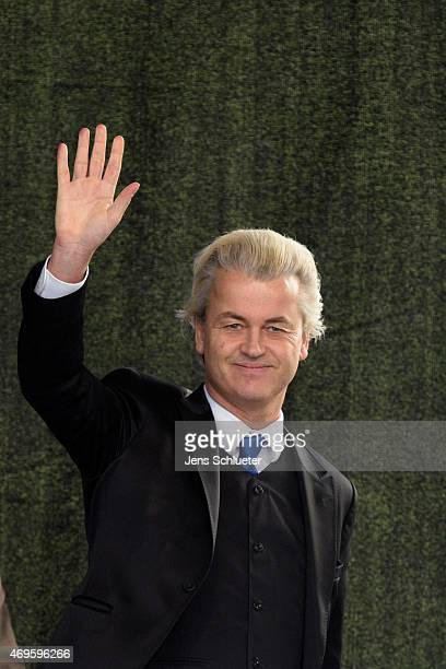Rightwing Dutch politician Geert Wilders speaks to supporters of the Pegida movement at another of their weekly protests on April 13 2015 in Dresden...