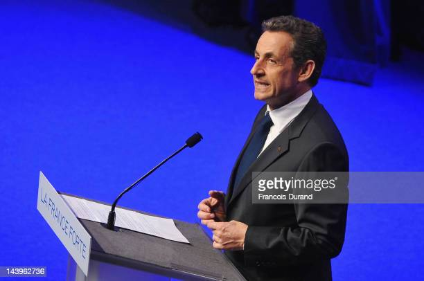 Rightwing incumbent candidate Nicolas Sarkozy adresses his supporters after the second round results of the French Presidential elections at Maison...