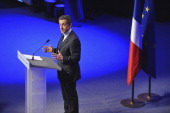 Rightwing incumbent candidate Nicolas Sarkozy adresses his supporters after the second round results of the French Presidential elections in Paris at...