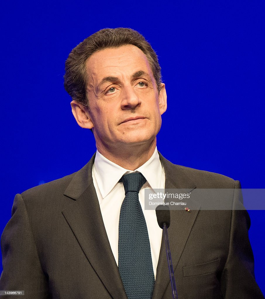 Right-wing incumbent candidate <a gi-track='captionPersonalityLinkClicked' href=/galleries/search?phrase=Nicolas+Sarkozy&family=editorial&specificpeople=211375 ng-click='$event.stopPropagation()'>Nicolas Sarkozy</a> adresses his supporters after the second round results of the French Presidential elections, at Maison De La Mutualite on May 6, 2012 in Paris, France. Socialist Francois Hollande has defeated incumbent president and UMP candidate <a gi-track='captionPersonalityLinkClicked' href=/galleries/search?phrase=Nicolas+Sarkozy&family=editorial&specificpeople=211375 ng-click='$event.stopPropagation()'>Nicolas Sarkozy</a>, with a projected 52% of the vote in the second and final round of the French Presidential elections.