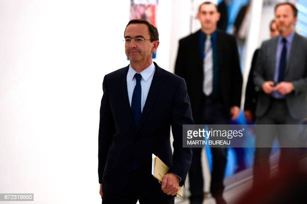 Rightwing Les Republicains group leader of the Senate and Francois Fillon's campaign manager Bruno Retailleau arrives for a meeting at the LR party...