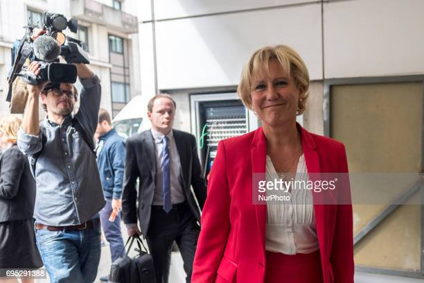 Rightwing Les Republicains party MP Nadine Morano arrivers at the Headquarters for a meeting to think about a new strategy in the second round of the...