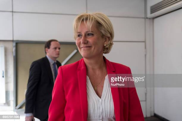 Rightwing Les Republicains party MP Nadine Morano arrives at the Headquarters for a meeting to think about a new strategy in the second round of the...