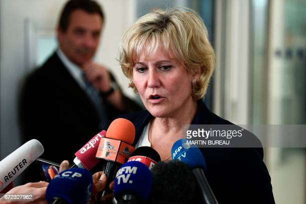 Rightwing Les Republicains party MP Nadine Morano speaks to journalists as he arrives for a meeting at the LR party headquarters in Paris on April 24...