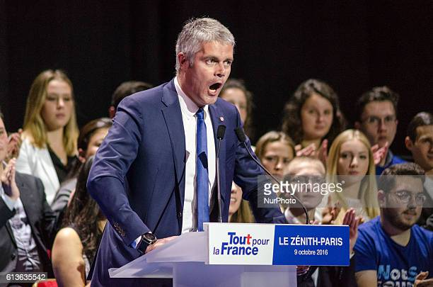 Rightwing Les Republicains President Laurent Wauquiez speaks at a campaign rally for Nicolas Sarkozy former French president who is running again in...