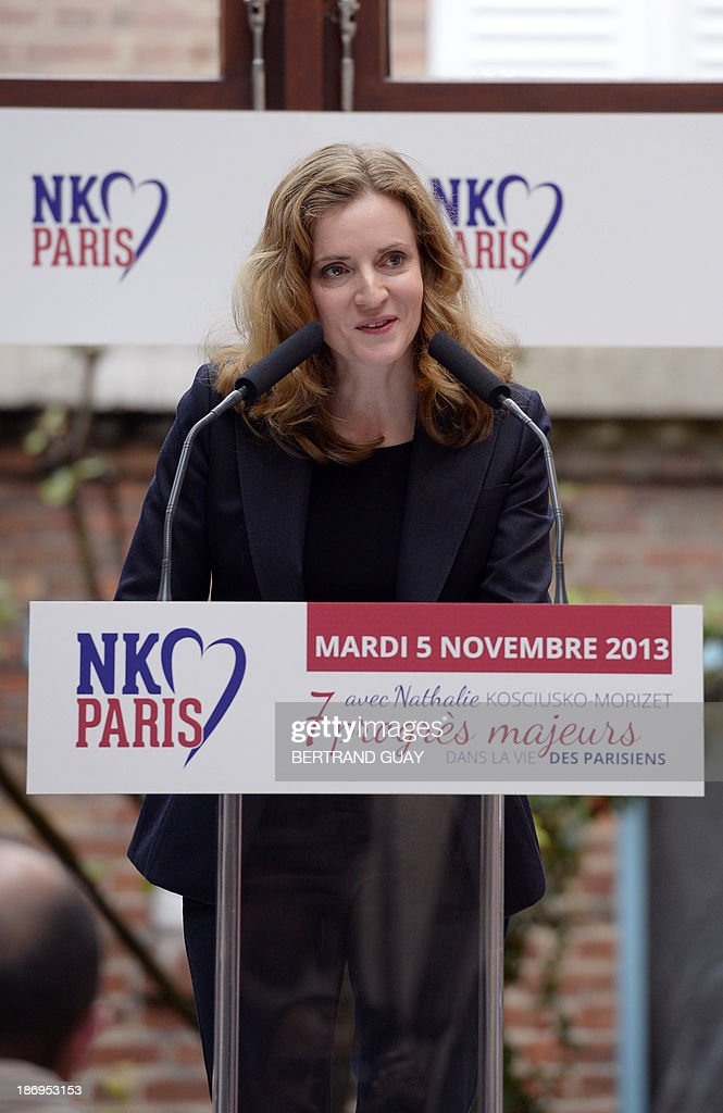 UMP right-wing party's candidate for Paris 2014 mayoral election Nathalie Kosciusko-Morizet delivers a speech to unveil her project for Paris, on November 5, 2013, in Paris.