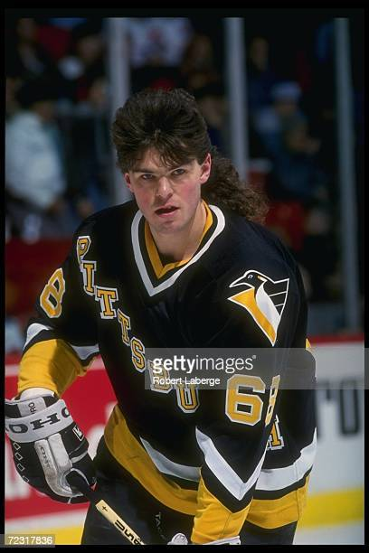 Rightwinger Jaromir Jagr of the Pittsburgh Penguins looks on during a game against the Montreal Canadiens at the Montreal Forum in Montreal Quebec