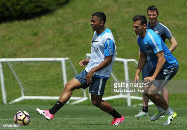 Rigo Berto Rivas is challenged by Trent Lucas Sainsbury during the FC Internazionale training session at the club's training ground Suning Training...