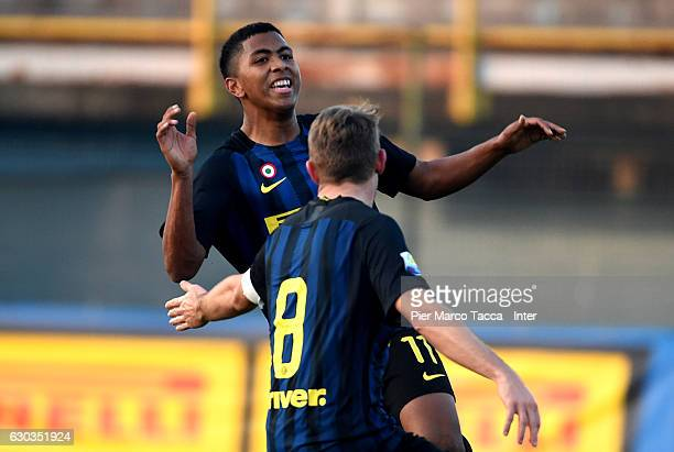 Rigoberto Manuel Rivas Vindel of FC Internazionale Primavera celebrates his first goal during the Primavera Tim Cup juvenile match between FC...