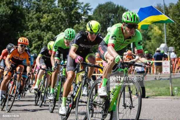 Rigoberto Uran of CannondaleDrapac Pro Cycling rides near the front of the peloton during stage 3 of the Colorado Challenge on August 13 2017 in...