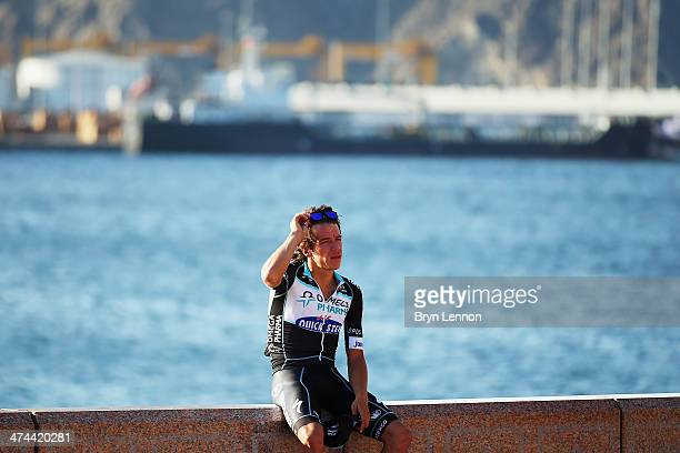 Rigoberto Uran of Colombia and Omega PharmaQuickstep finished 3rd in the 2014 Tour of Oman on February 23 2014 on the Matrah Corniche Oman