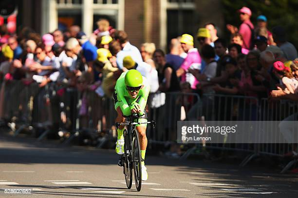 Rigoberto Uran of Colombia and the Cannondale Pro Cycling Team in action on stage one of the 2016 Giro a 98km individual timetrial through Apeldoorn...