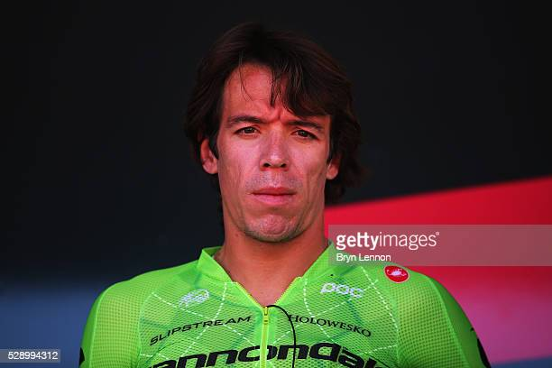 Rigoberto Uran of Colombia and the Cannondale Ptro Cycling Team looks on at the start of stage two of the 2016 Giro d'Italia a 190km stage from...