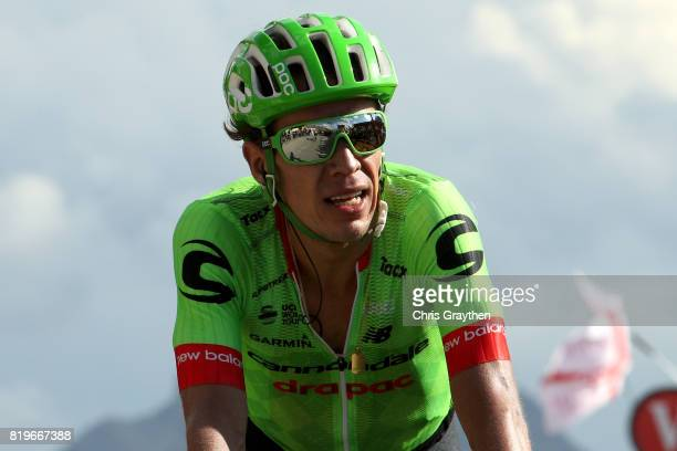 Rigoberto Uran of Colombia riding for Cannondale Drapac crosses the finish line during stage 18 of the 2017 Le Tour de France a 1795km stage from...