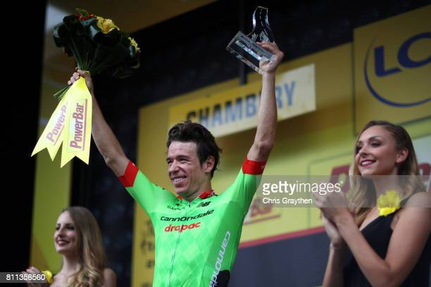 Rigoberto Uran of Colombia riding for Cannondale Drapac poses for a photo on the podium after winning stage 9 of the 2017 Le Tour de France a 1815km...