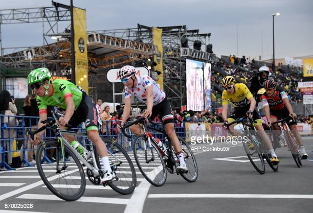 Rigoberto Uran of Colombia Warren Barguil of France Chris Froome of Britain and Greg Van Avermaet of Belgium compete during the criterium main race...