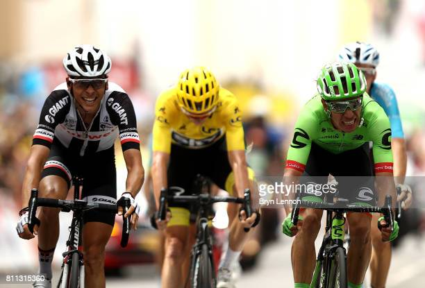 Rigoberto Uran of Columbia and Cannondale Drapac Professional Cycling Team wins the stage ahead of Warren Barguil of France and Team Sunweb during...