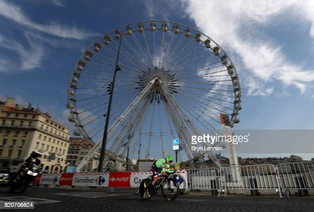 Rigoberto Uran of Columbia and Cannondale Drapac Professional Cycling Team in action during stage twenty of Le Tour de France 2017 on July 22 2017 in...